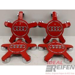 4 Original Audi Q5 8R auch passend auf A3 8P Nabendeckel 8R0601165 Rot Glanz
